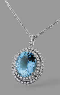 aquamarine diamond and platinum pendant necklace by Mason Chai Designs at Beach City Jewelers in Seal Beach, CA